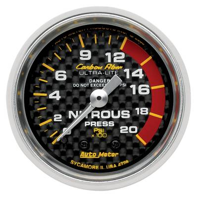 Water Methanol & Nitrous - Nitrous - Auto Meter - Auto Meter Gauge; Nitrous Pressure; 2 1/16in.; 1600psi; Mechanical; Carbon Fiber 4728
