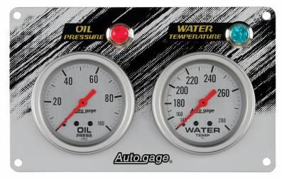 Gauges & Pods - Gauge Pods - Auto Meter - Auto Meter Gauge Panel; Race; OILP/WTMP; 2 5/8in.; 100psi/280deg. F; SLVR; AG 7065