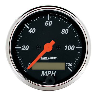 Gauges & Pods - Digital Gauges - Auto Meter - Auto Meter Gauge; Speedo.; 3 1/8in.; 120mph; Elec. Prog. w/LCD Odo; Designer Blk 1487