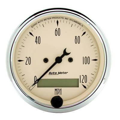 Gauges & Pods - Digital Gauges - Auto Meter - Auto Meter Gauge; Speedo.; 3 1/8in.; 120mph; Elec. Prog. w/LCD Odo; Antq Beige 1887