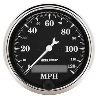 Gauges & Pods - Digital Gauges - Auto Meter - Auto Meter Gauge; Speedo.; 3 1/8in.; 120mph; Elec. Prog. w/LCD Odo; Old Tyme Blk 1787