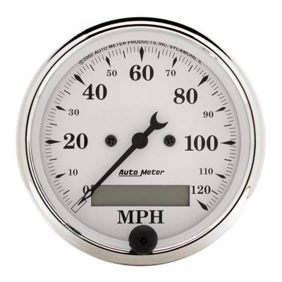 Gauges & Pods - Digital Gauges - Auto Meter - Auto Meter Gauge; Speedo.; 3 1/8in.; 120mph; Elec. Prog. w/LCD Odo; Old Tyme White 1688