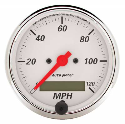 Gauges & Pods - Digital Gauges - Auto Meter - Auto Meter Gauge; Speedometer; 3 1/8in.; 120mph; Elec. Prog. w/LCD Odo; Arctic White 1388