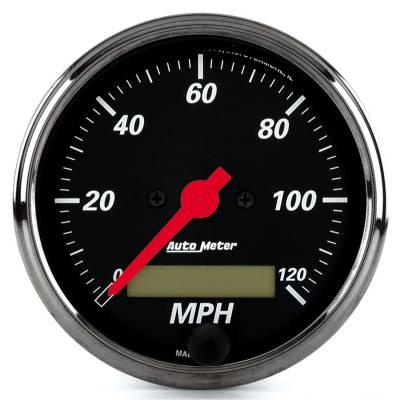 Gauges & Pods - Digital Gauges - Auto Meter - Auto Meter Gauge; Speedo.; 3 1/8in.; 120mph; Elec. Prog. w/LCD Odo; Blk Bzl; Designer Blk 1488