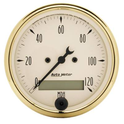 Gauges & Pods - Digital Gauges - Auto Meter - Auto Meter Gauge; Speedometer; 3 1/8in.; 120mph; Elec. Prog. w/LCD Odo; Golden Oldies 1588