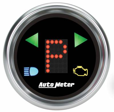 Gauges & Pods - Digital Gauges - Auto Meter - Auto Meter Gauge; Gear Pos; 2 1/16in.; incl indicators; Black Dial; Blue LED; Bright Super 6150