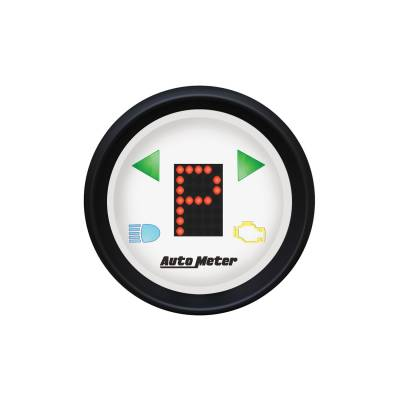 Gauges & Pods - Digital Gauges - Auto Meter - Auto Meter Gauge; Gear Pos; 2 1/16in.; incl indicators; White Dial; Red LED; Black Bezel 5759