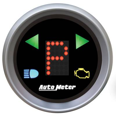 Gauges & Pods - Digital Gauges - Auto Meter - Auto Meter Gauge; Gear Pos; 2 1/16in.; incl indicators; Black Dial; Red LED; Silver Bezel 3359