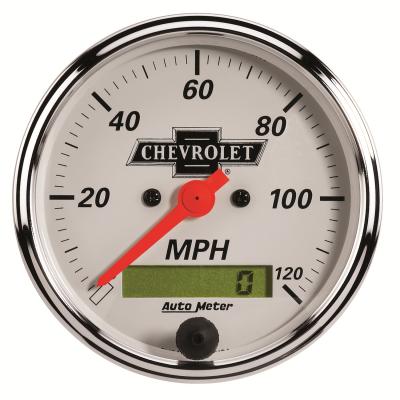 Gauges & Pods - Digital Gauges - Auto Meter - Auto Meter Gauge; Speedo.; 3 1/8in.; 120mph; Elec. Prog. w/LCD Odo; Chevrolet Heritage Bowt 1388-00408