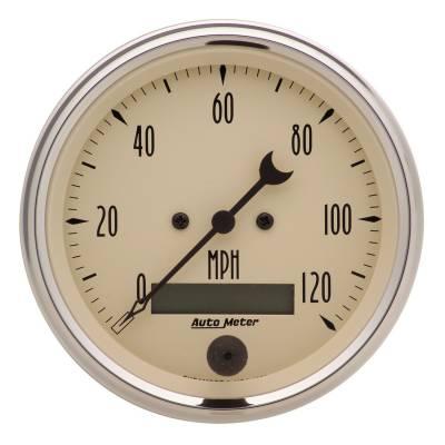 Gauges & Pods - Digital Gauges - Auto Meter - Auto Meter Gauge; Speedo.; 3 3/8in.; 120mph; Elec. Prog. w/LCD Odo; Antq Beige 1880