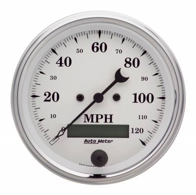 Gauges & Pods - Digital Gauges - Auto Meter - Auto Meter Gauge; Speedo.; 3 3/8in.; 120mph; Elec. Prog. w/LCD Odo; Old Tyme White 1680