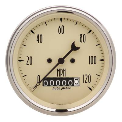 Gauges & Pods - Digital Gauges - Auto Meter - Auto Meter Gauge; Speedo.; 3 3/8in.; 120mph; Elec. Prog. w/Wheel Odo; Antq Beige 1879