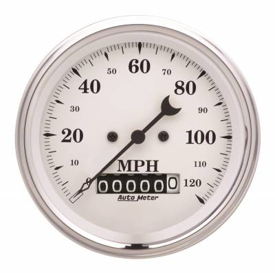 Gauges & Pods - Digital Gauges - Auto Meter - Auto Meter Gauge; Speedo.; 3 3/8in.; 120mph; Elec. Prog. w/Wheel Odo; Old Tyme White 1679