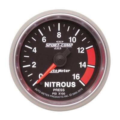 Water Methanol & Nitrous - Nitrous - Auto Meter - Auto Meter Gauge; Nitrous Press; 2 5/8in.; 1600psi; Stepper Motor w/Peak/Warn; Sport-Comp I 7674
