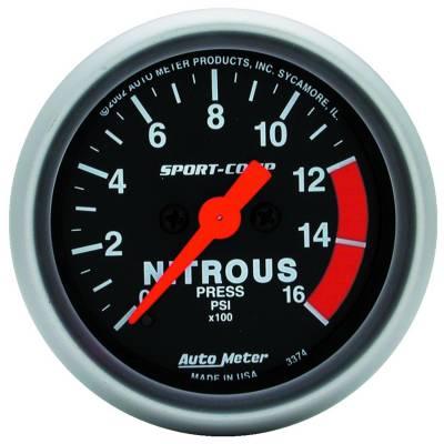 Water Methanol & Nitrous - Nitrous - Auto Meter - Auto Meter Gauge; Nitrous Pressure; 2 1/16in.; 1600psi; Digital Stepper Motor; Sport-Comp 3374