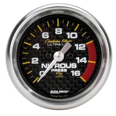Water Methanol & Nitrous - Nitrous - Auto Meter - Auto Meter Gauge; Nitrous Pressure; 2 1/16in.; 1600psi; Digital Stepper Motor; Carbon Fiber 4774