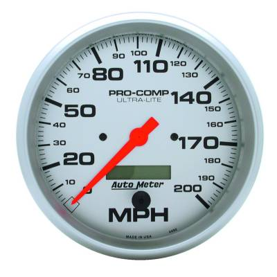 Gauges & Pods - Digital Gauges - Auto Meter - Auto Meter Gauge; Speedo; 5in.; 200mph; Elec. Program w/LCD odo; Ultra-Lite 4490