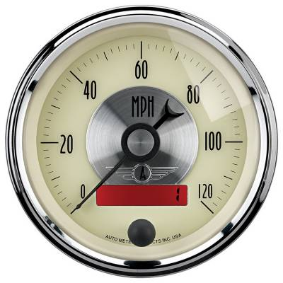 Gauges & Pods - Digital Gauges - Auto Meter - Auto Meter Gauge; Speedo; 3 3/8in.; 120mph; Elec. Program w/LCD odo; Prestige Antq. Ivory 2087