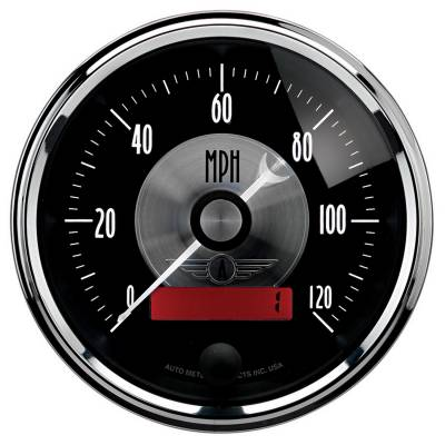 Gauges & Pods - Digital Gauges - Auto Meter - Auto Meter Gauge; Speedo; 3 3/8in.; 120mph; Elec. Program w/LCD odo; Prestige Blk. Diamond 2086