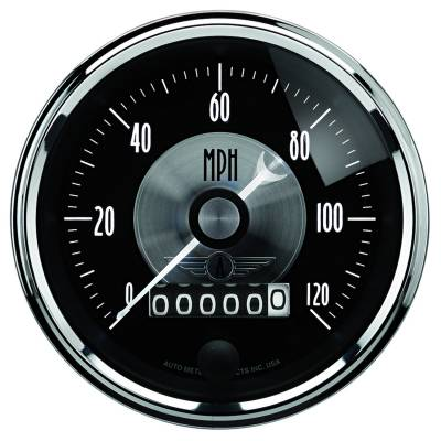 Gauges & Pods - Digital Gauges - Auto Meter - Auto Meter Gauge; Speedo; 3 3/8in.; 120mph; Elec. Program w/Wheel odo; Prestige Blk. Diamon 2088