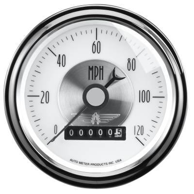 Gauges & Pods - Digital Gauges - Auto Meter - Auto Meter Gauge; Speedo; 3 3/8in.; 120mph; Elec. Program w/Wheel odo; Prestige Pearl 2085