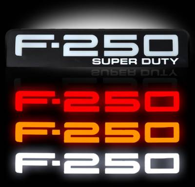 Exterior Accessories - Logos / Emblems - Recon Lighting - 08-10 Ford F250 Illuminated Emblems 2-Piece Kit Includes Driver & Passenger Side Fender Emblems in Black Chrome - Illuminates in 3 Different User Selectable Colors - F250 in AMBER, RED, & WHITE