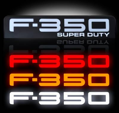 Exterior Accessories - Logos / Emblems - Recon Lighting - 08-10 Ford F350 Illuminated Emblems 2-Piece Kit Includes Driver & Passenger Side Fender Emblems in Black Chrome - Illuminates in 3 Different User Selectable Colors - F350 in AMBER, RED, & WHITE