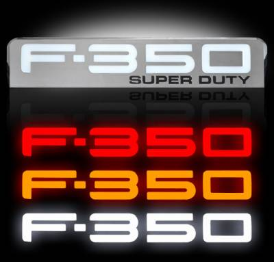 Exterior Accessories - Logos / Emblems - Recon Lighting - 08-10 Ford F350 Illuminated Emblems 2-Piece Kit Includes Driver & Passenger Side Fender Emblems in Chrome - Illuminates in 3 Different User Selectable Colors - F350 in AMBER, RED, & WHITE