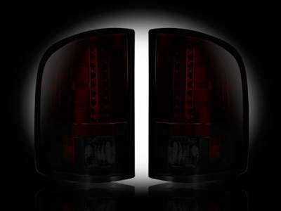 Recon Lighting - Chevy Silverado 07-13 1500 (2nd GEN Single-Wheel & 07-14 Dually) & GMC Sierra 07-14 (Dually Only) 2nd GEN Body Style LED TAIL LIGHTS - Dark Red Smoked Lens - Image 1