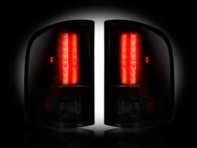 Recon Lighting - Chevy Silverado 07-13 1500 (2nd GEN Single-Wheel & 07-14 Dually) & GMC Sierra 07-14 (Dually Only) 2nd GEN Body Style LED TAIL LIGHTS - Dark Red Smoked Lens - Image 2