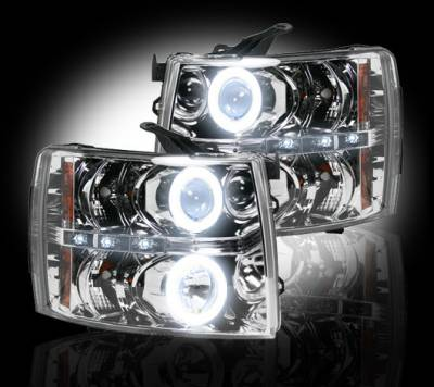Lighting - Head Lights - Recon Lighting - Chevrolet Silverado 07-13 1500 (2nd GEN Single-Wheel & 07-14 Dually) PROJECTOR HEADLIGHTS w/ CCFL HALOS & DRL - Clear / Chrome