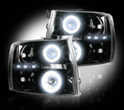 Lighting - Head Lights - Recon Lighting - Chevrolet Silverado 07-13 1500 (2nd GEN Single-Wheel & 07-14 Dually) PROJECTOR HEADLIGHTS w/ CCFL HALOS & DRL - Smoked / Black