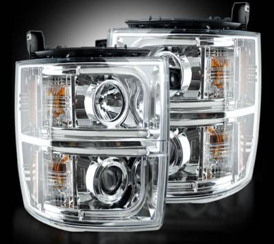 Lighting - Head Lights - Recon Lighting - Chevrolet Silverado 2500/3500 Heavy Duty 14-17 (3rd GEN) PROJECTOR HEADLIGHTS w/ Ultra High Power Smooth OLED HALOS & DRL - Clear / Chrome