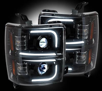 Recon Lighting - Chevrolet Silverado 2500/3500 Heavy Duty 14-17 (3rd GEN) PROJECTOR HEADLIGHTS w/ Ultra High Power Smooth OLED HALOS & DRL - Smoked / Black - Image 2