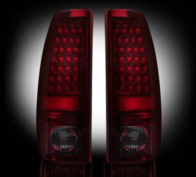 "Lighting - Tail Lights - Recon Lighting - Chevy Silverado & GMC Sierra 99-07 (Fits 2007 ""Classic"" Body Style Only) LED TAIL LIGHTS - Dark Red Smoked Lens"