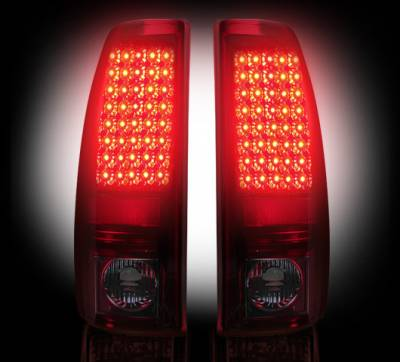 "Recon Lighting - Chevy Silverado & GMC Sierra 99-07 (Fits 2007 ""Classic"" Body Style Only) LED TAIL LIGHTS - Dark Red Smoked Lens - Image 2"