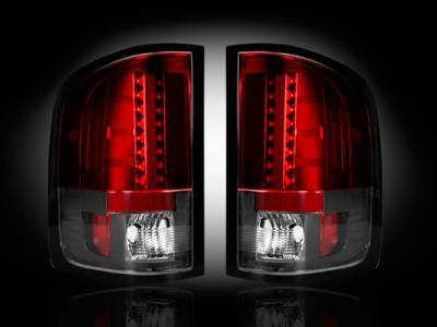Recon Lighting - Chevy Silverado 07-13 1500 (2nd GEN Single-Wheel & 07-14 Dually) & GMC Sierra 07-14 (Dually Only) 2nd GEN Body Style LED TAIL LIGHTS - Red Lens - Image 1