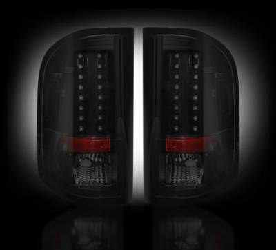 Lighting - Tail Lights - Recon Lighting - Chevy Silverado 07-13 1500 (2nd GEN Single-Wheel & 07-14 Dually) & GMC Sierra 07-14 (Dually Only) 2nd GEN Body Style LED TAIL LIGHTS - Smoked Lens