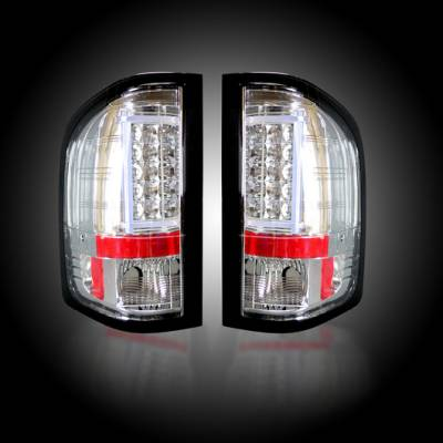 Lighting - Tail Lights - Recon Lighting - Chevy Silverado 07-13 1500 (2nd GEN Single-Wheel & 07-14 Dually) & GMC Sierra 07-14 (Dually Only) 2nd GEN Body Style OLED TAIL LIGHTS - Clear Lens