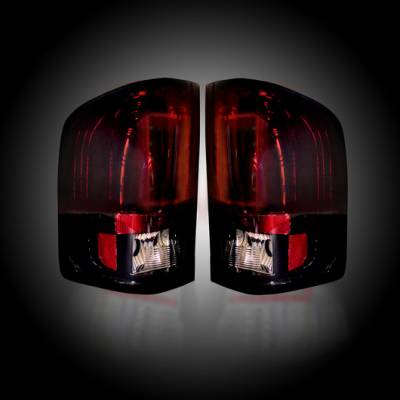 Lighting - Tail Lights - Recon Lighting - Chevy Silverado 07-13 1500 (2nd GEN Single-Wheel & 07-14 Dually) & GMC Sierra 07-14 (Dually Only) 2nd GEN Body Style OLED TAIL LIGHTS - Dark Red Smoked Lens