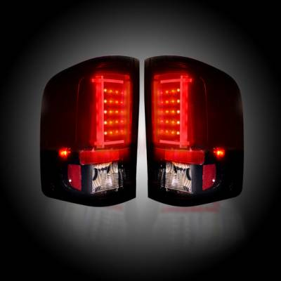 Recon Lighting - Chevy Silverado 07-13 1500 (2nd GEN Single-Wheel & 07-14 Dually) & GMC Sierra 07-14 (Dually Only) 2nd GEN Body Style OLED TAIL LIGHTS - Dark Red Smoked Lens - Image 2