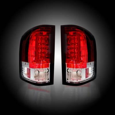 Lighting - Tail Lights - Recon Lighting - Chevy Silverado 07-13 1500 (2nd GEN Single-Wheel & 07-14 Dually) & GMC Sierra 07-14 (Dually Only) 2nd GEN Body Style OLED TAIL LIGHTS - Red Lens