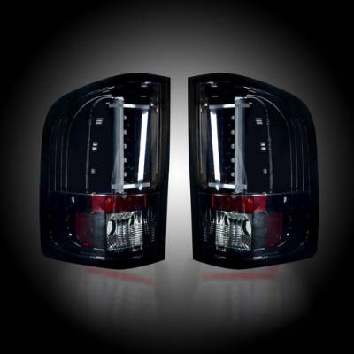 Recon Lighting - Chevy Silverado 07-13 1500 (2nd GEN Single-Wheel & 07-14 Dually) & GMC Sierra 07-14 (Dually Only) 2nd GEN Body Style OLED TAIL LIGHTS - Smoked Lens - Image 1