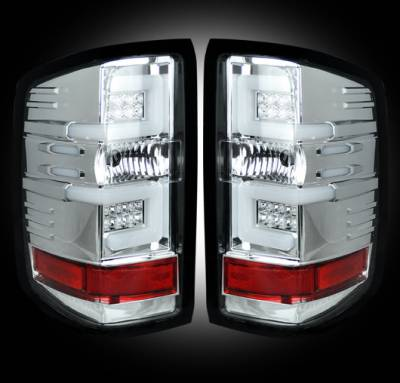 Lighting - Tail Lights - Recon Lighting - Chevy Silverado 14-17 1500/2500/3500 (Fits 3rd GEN All Body Styles Chevy Silverado & GMC Sierra 15-17 Dually ONLY) LED TAIL LIGHTS - Clear Lens