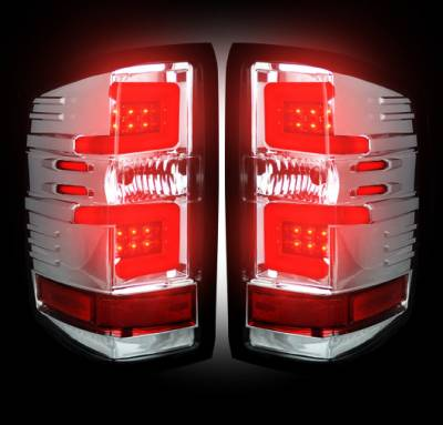 Recon Lighting - Chevy Silverado 14-17 1500/2500/3500 (Fits 3rd GEN All Body Styles Chevy Silverado & GMC Sierra 15-17 Dually ONLY) LED TAIL LIGHTS - Clear Lens - Image 2