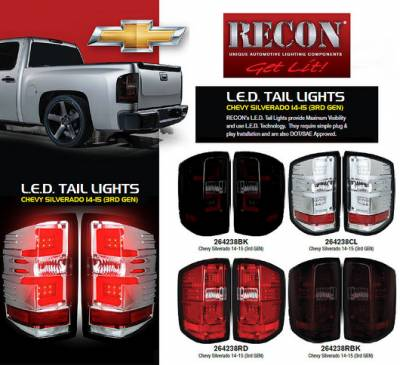 Recon Lighting - Chevy Silverado 14-17 1500/2500/3500 (Fits 3rd GEN All Body Styles Chevy Silverado & GMC Sierra 15-17 Dually ONLY) LED TAIL LIGHTS - Clear Lens - Image 4