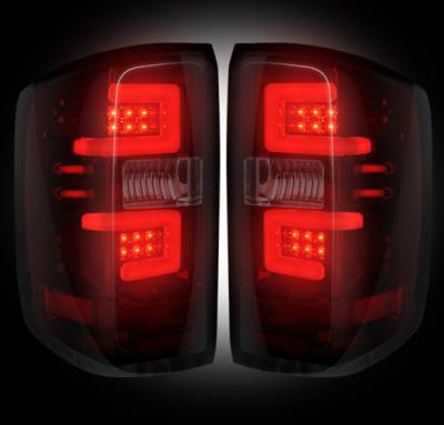 Lighting - Tail Lights - Recon Lighting - Chevy Silverado 14-15 1500 (Fits 3rd GEN All Body Styles Chevy Silverado & GMC Sierra 15-16 Dually ONLY) LED TAIL LIGHTS - Dark Red Smoked Lens