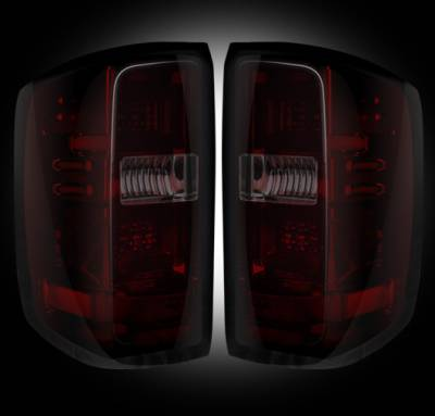 Recon Lighting - Chevy Silverado 14-15 1500 (Fits 3rd GEN All Body Styles Chevy Silverado & GMC Sierra 15-16 Dually ONLY) LED TAIL LIGHTS - Dark Red Smoked Lens - Image 2