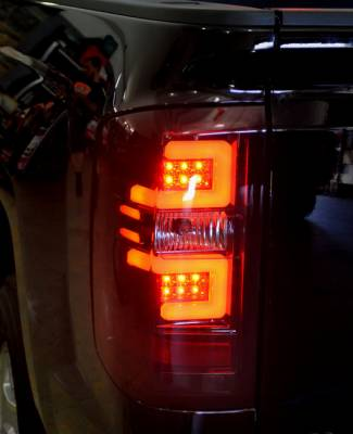 Recon Lighting - Chevy Silverado 14-15 1500 (Fits 3rd GEN All Body Styles Chevy Silverado & GMC Sierra 15-16 Dually ONLY) LED TAIL LIGHTS - Dark Red Smoked Lens - Image 3