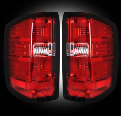 Lighting - Tail Lights - Recon Lighting - Chevy Silverado 14-17 1500/2500/3500 (Fits 3rd GEN All Body Styles Chevy Silverado & GMC Sierra 15-17 Dually ONLY) LED TAIL LIGHTS - Red Lens